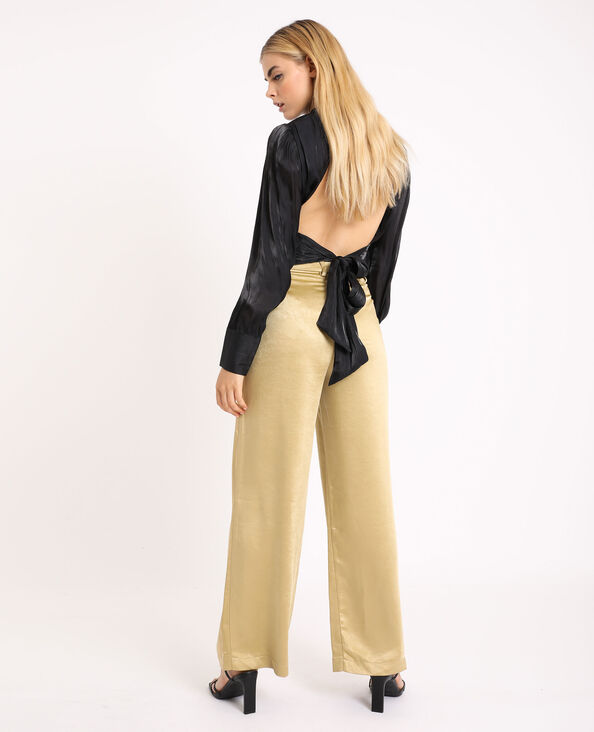 Pantalone largo satinato dorato