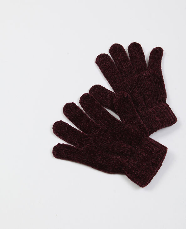 Guanti in maglia ciniglia granata