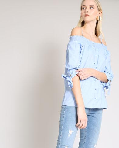 Camicia con collo bardot blu chiaro