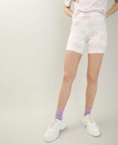 Pantaloncini in stile ciclista tie and dye écru