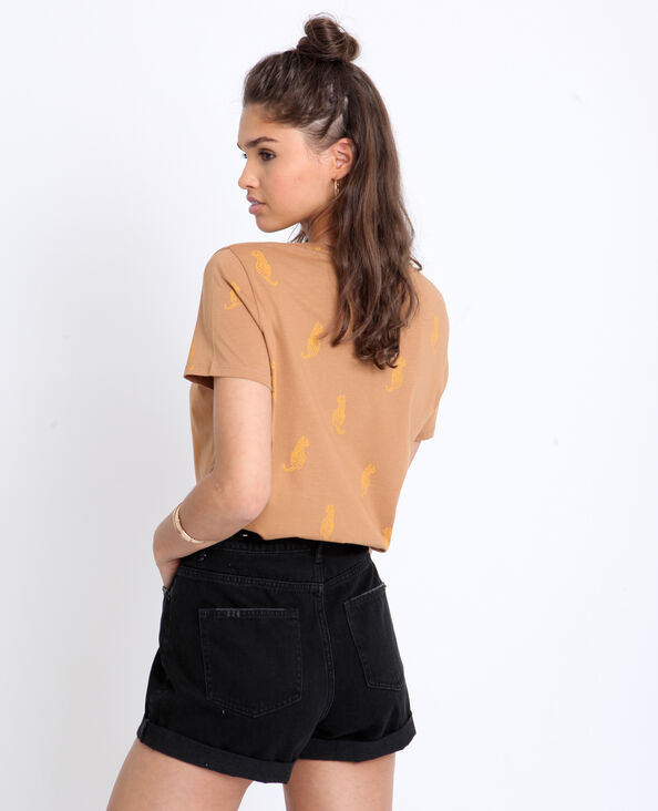 T-shirt con stampa marrone
