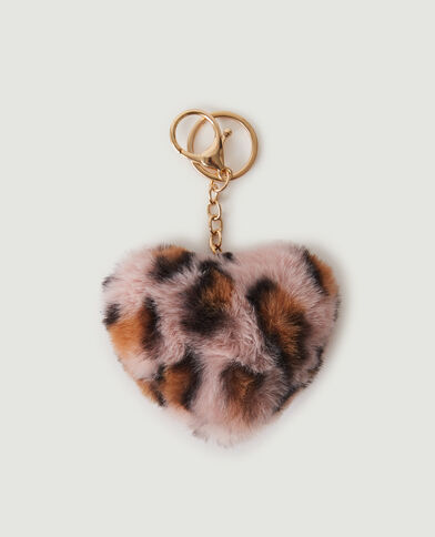 Portachiavi cuore leopardato morbidissimo rosa - Pimkie
