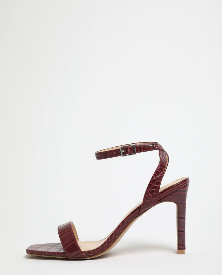 Sandali con tacchi effetto coccodrillo Granata
