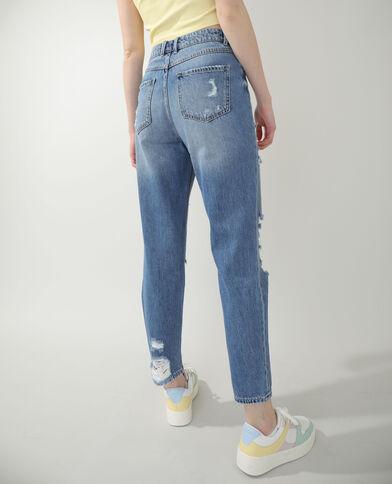 Jeans straight high waist destroy blu denim - Pimkie