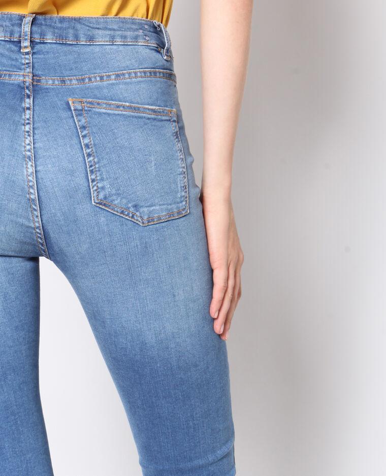 Jeans skinny raw cut blu denim
