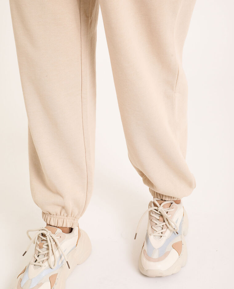 Pantalone in tessuto felpato beige