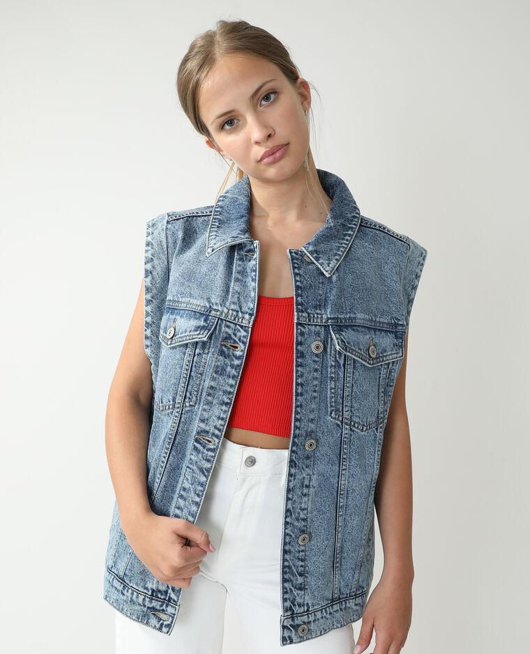 Giacca di jeans oversize blu delavato - Pimkie