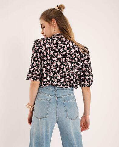 Camicia corta a fiori nero