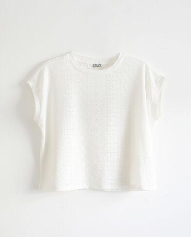 T-shirt con ricami bianco sporco