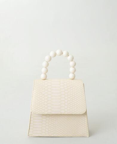 Borsa a mano con perle beige