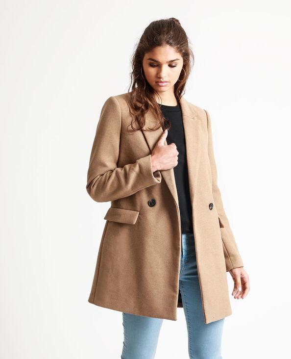 Cappotto in panno di lana caramello