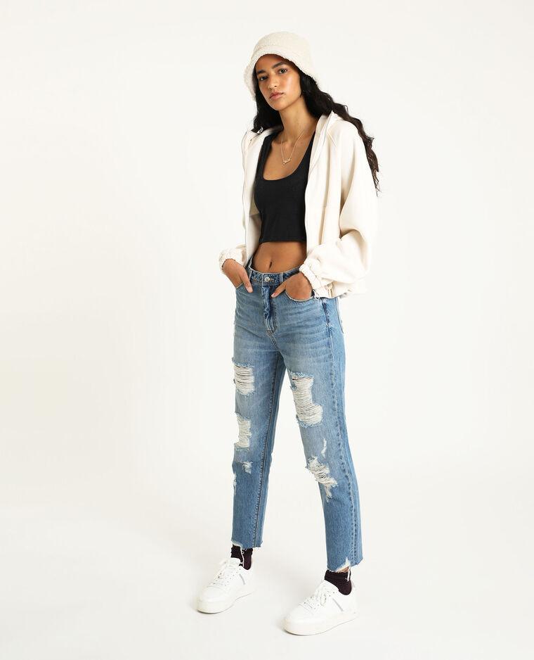 Jeans straight destroy blu denim