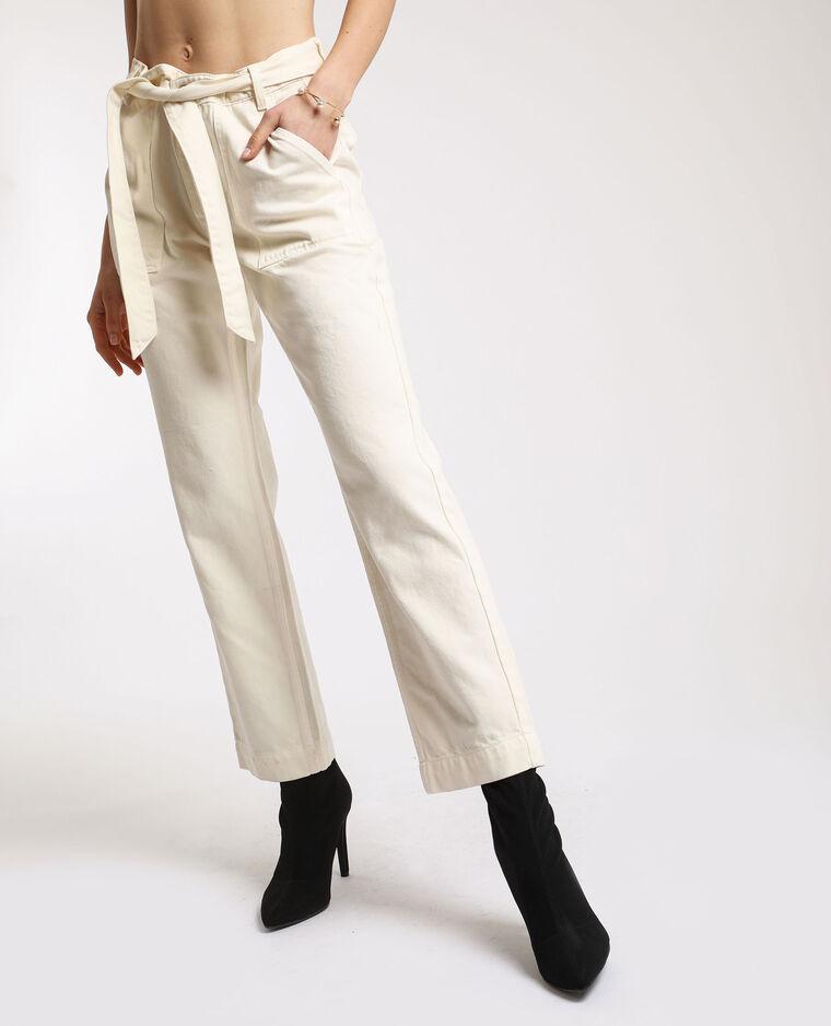 Pantalone dritto con tasche beige