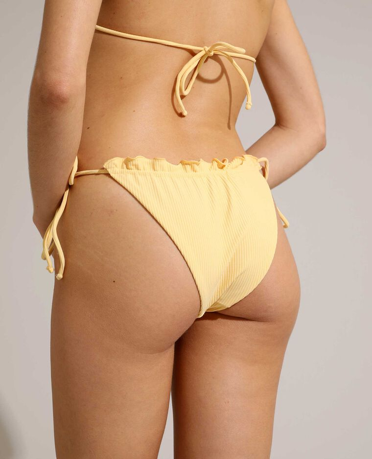 Slip di costume da bagno a coste convertibile giallo pallido - Pimkie