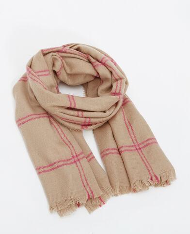 Grande sciarpa a quadri cammello
