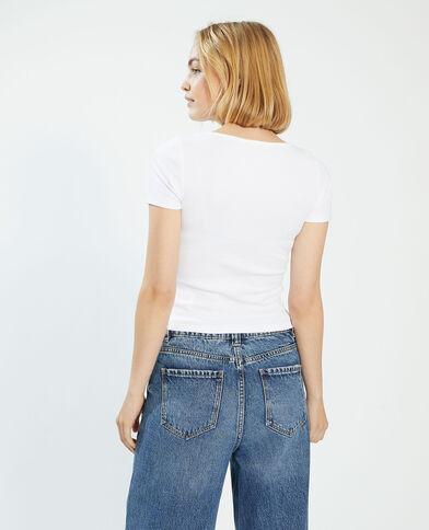 T-shirt basic con bottoni bianco - Pimkie
