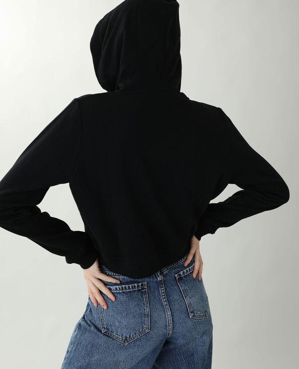 Felpa corta con cappuccio in tessuto felpato nero - Pimkie