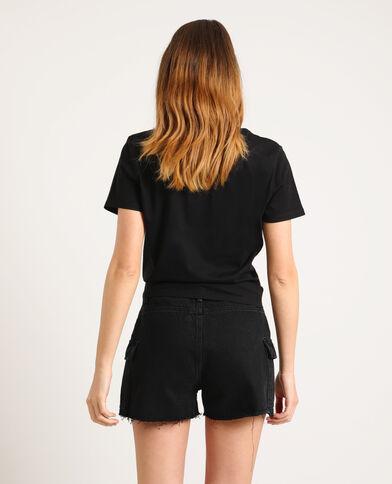 T-shirt con messaggio nero