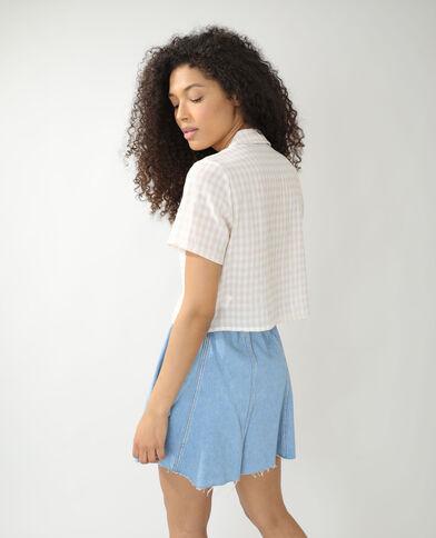 Camicia ampia a quadri beige - Pimkie
