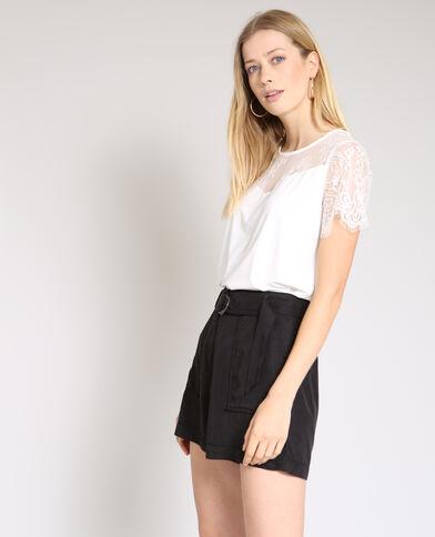 Kanten T-shirt bianco sporco