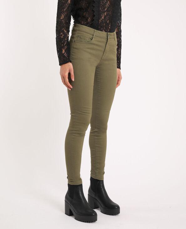 Pantalone skinny push up mid waist kaki