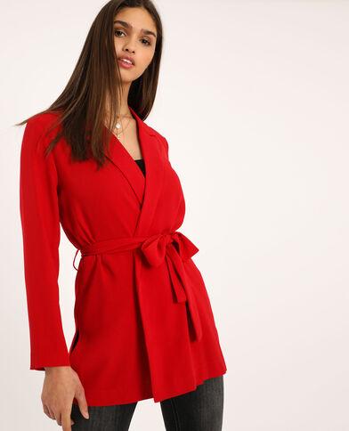 Blazer morbido con cintura rosso