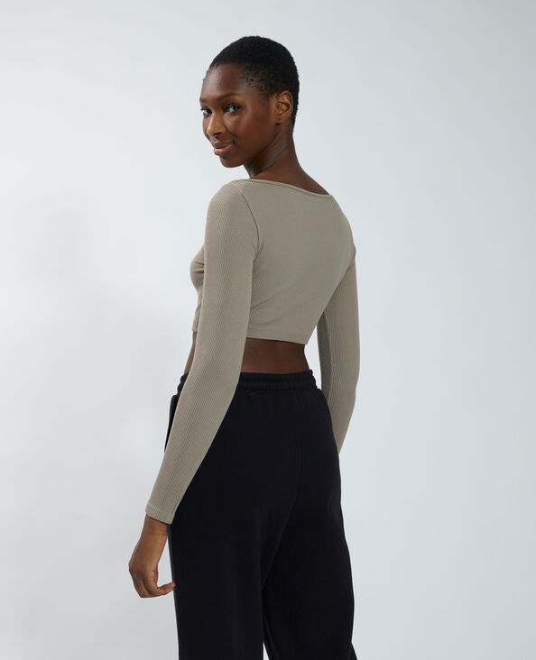 T-shirt cropped a coste topo - Pimkie