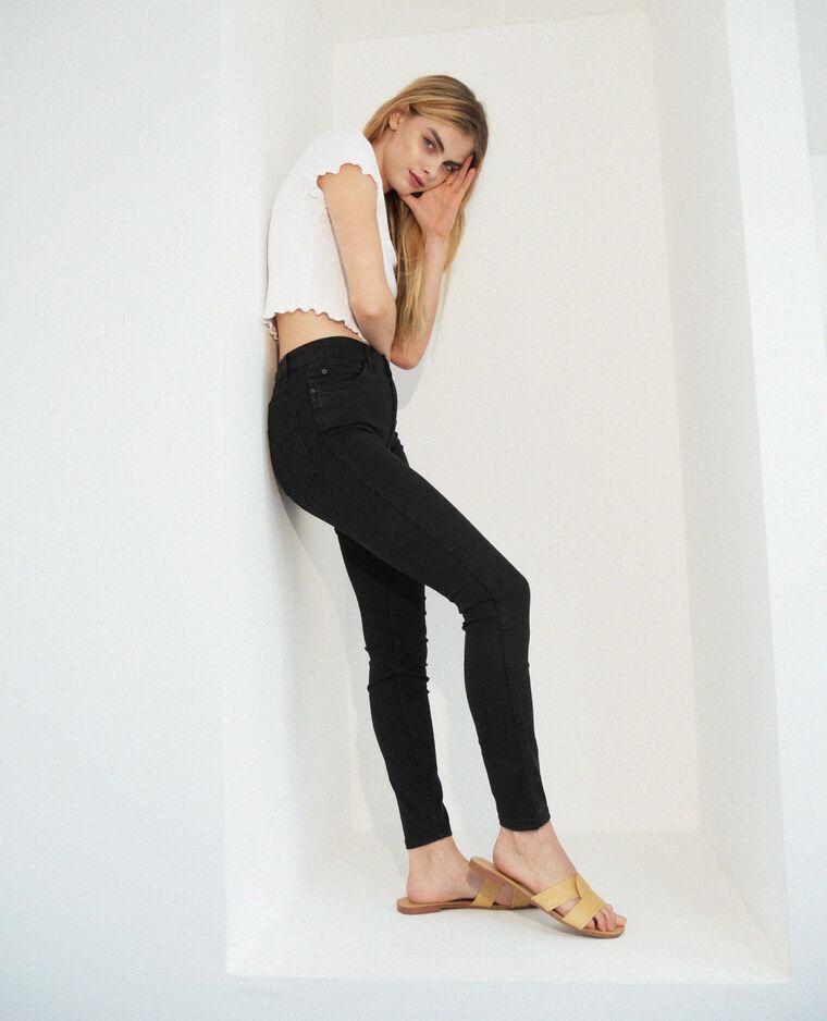 Jeans push up mid waist nero