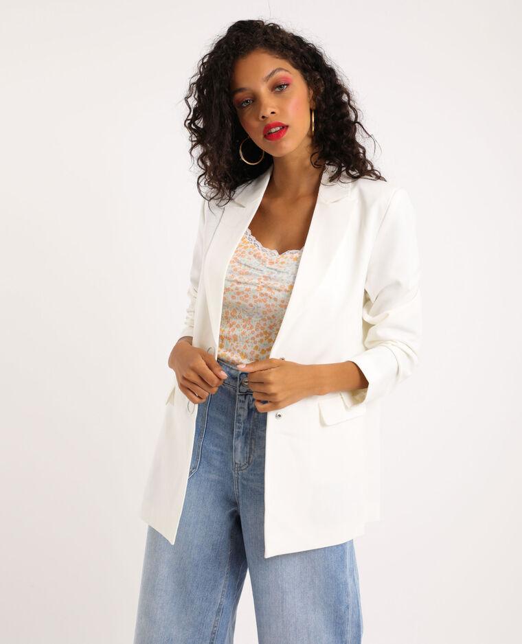Giacca blazer lunga bianco sporco