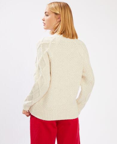 Pull in maglia fantasia bianco sporco - Pimkie