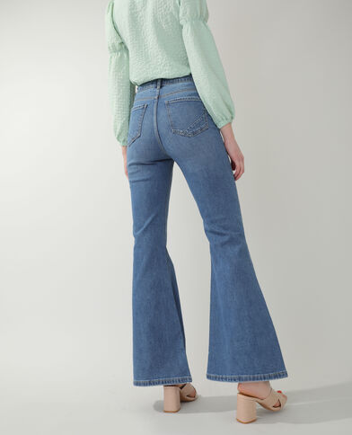 Jeans flare high waist blu denim
