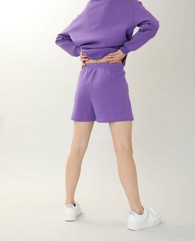 Short in tessuto felpato viola