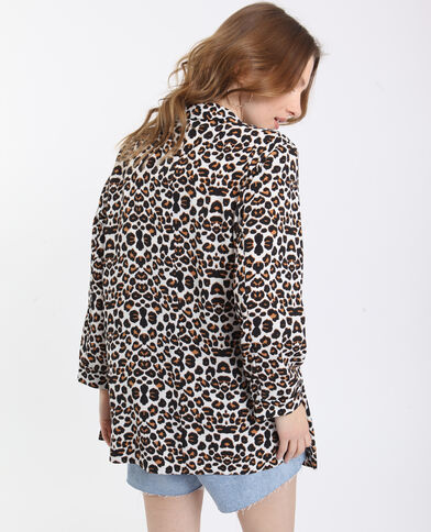 Blazer leopardato ecru