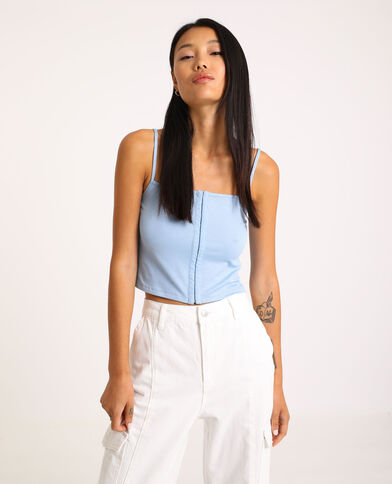Top cropped con gancetti blu