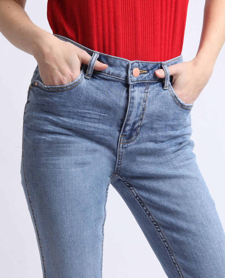 Jeans push up mid waist blu