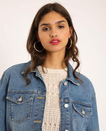 JEANS da donna giacca lungo corto oversize Destroyed Denim giacca cappotto cardigan blu