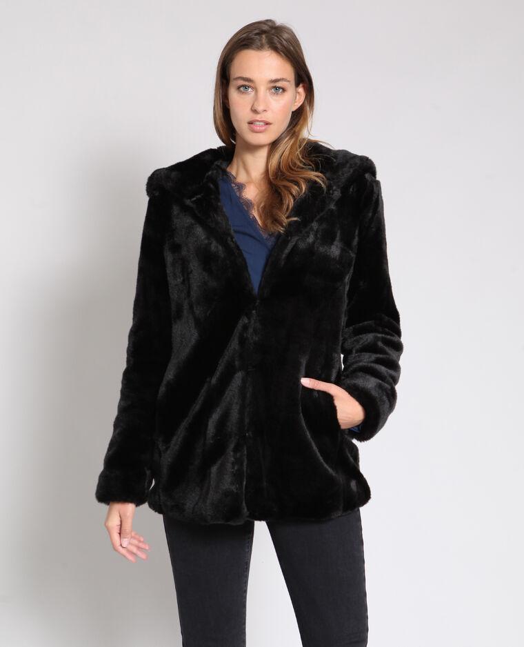 Cappotto in pelliccia ecologica nero