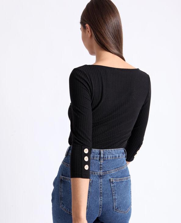 T-shirt in maglia a coste nero