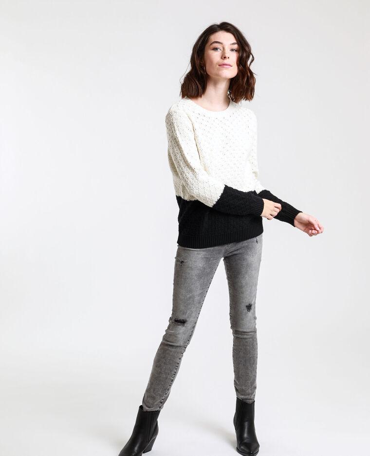 Pull bicolore bianco sporco