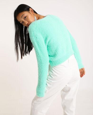 Cardigan fluffy con collo a V verde