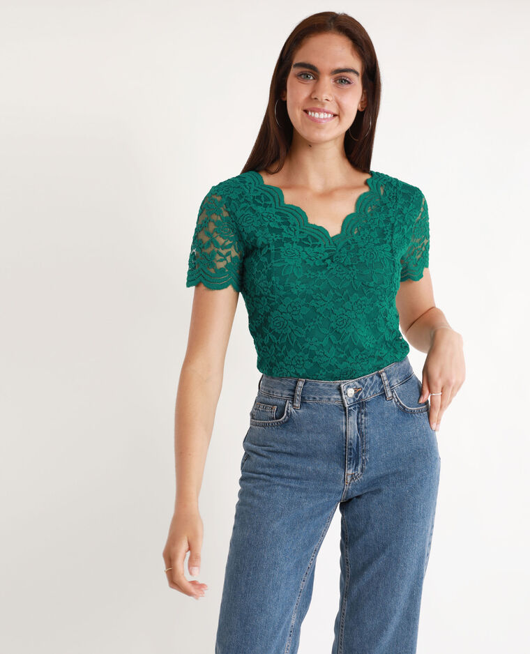 T-shirt in pizzo verde