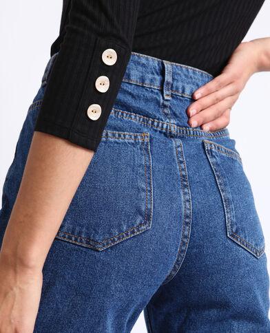 Jeans a vita alta blu grezzo