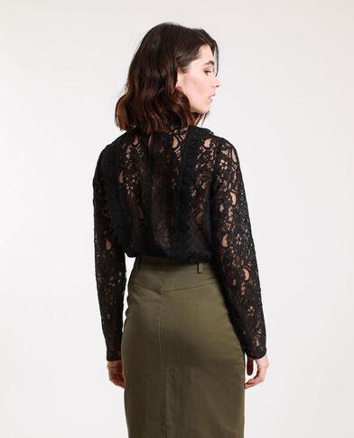 Camicia ricamata nero