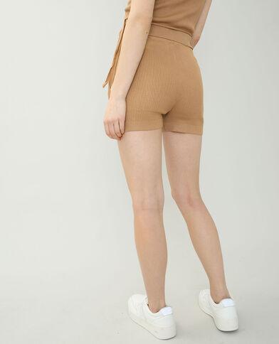 Pantaloncini corti in stile ciclista beige sabbia