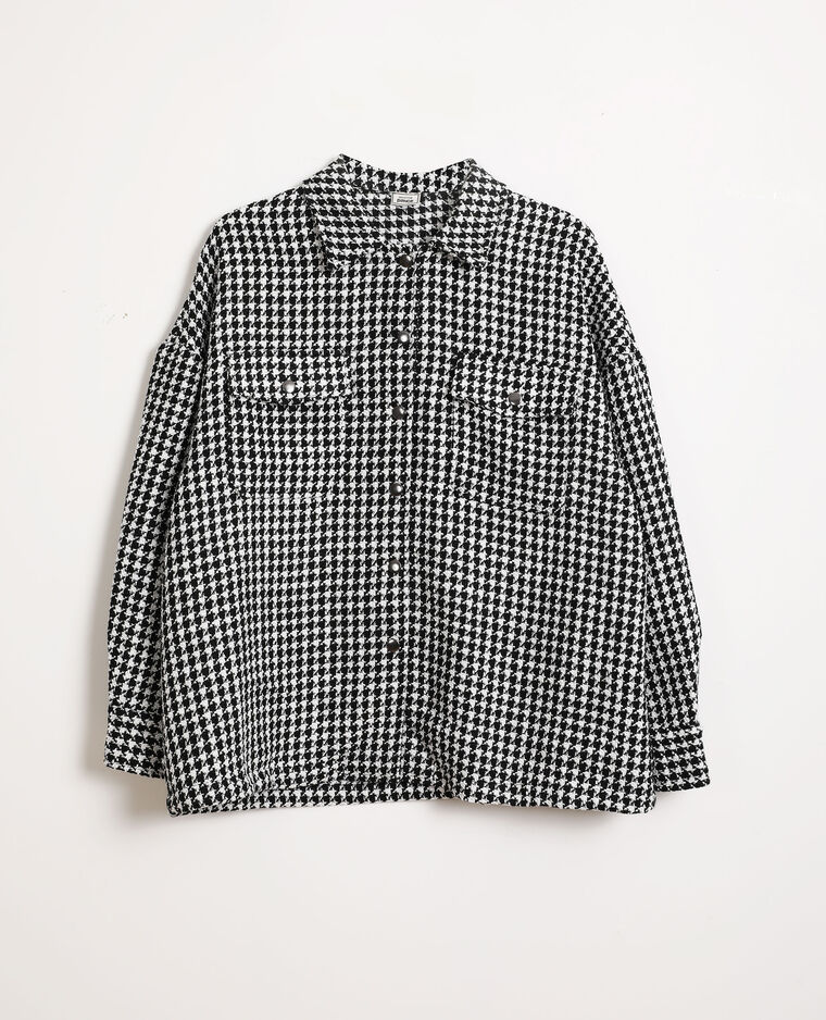 Giacca camicia pied-de-coq nero