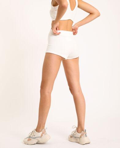 Short loungewear in velluto bianco sporco