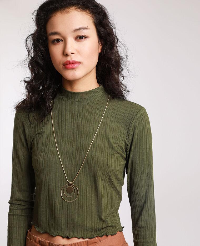 Top cropped maniche lunghe verde