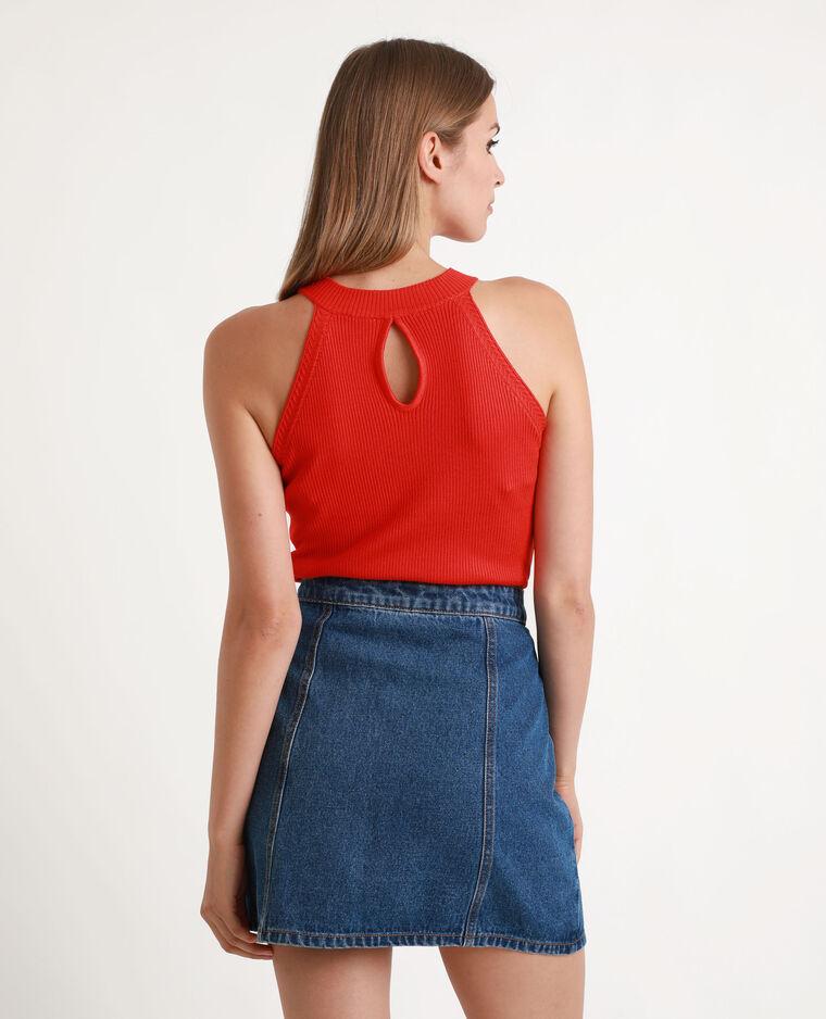 Top in maglia a coste rosso