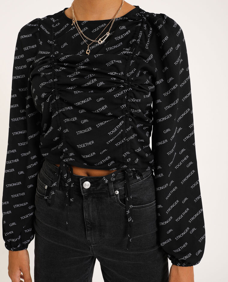 Blusa cropped nero