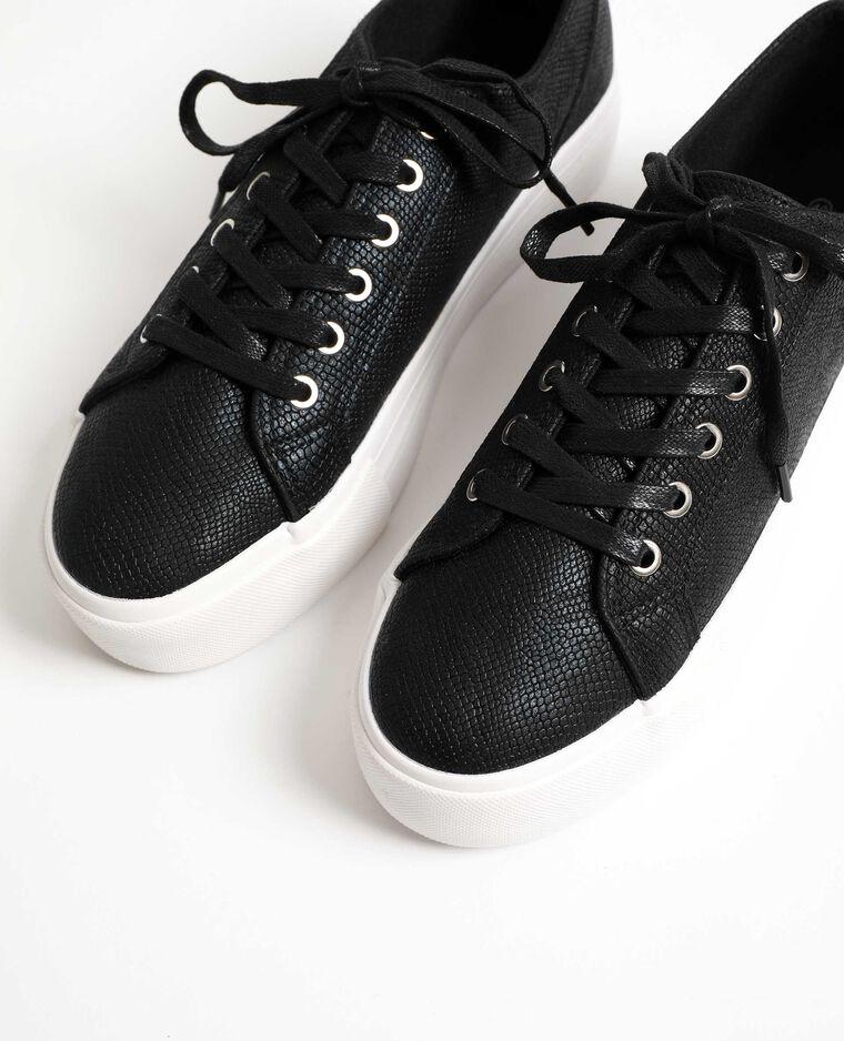 Scarpe da tennis effetto coccodrillo nero